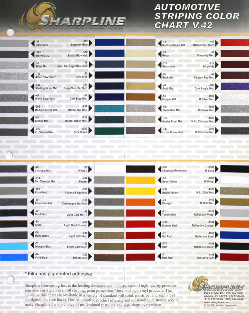 Sharpline v42 Color Chart